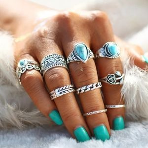 10 Piece Turquoise Silver Ring Set
